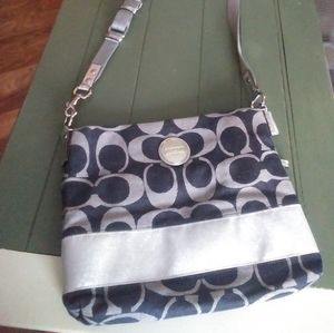 Signature striped crossbody coach purse